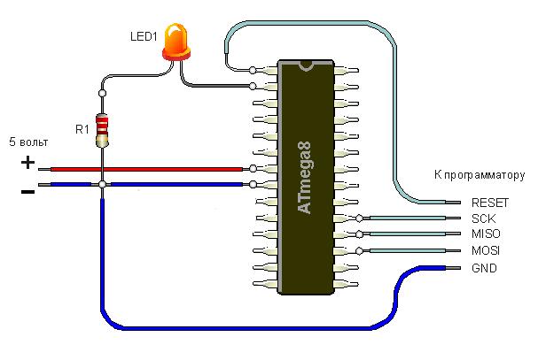 """(""""минус"""") светодиода LED1"""